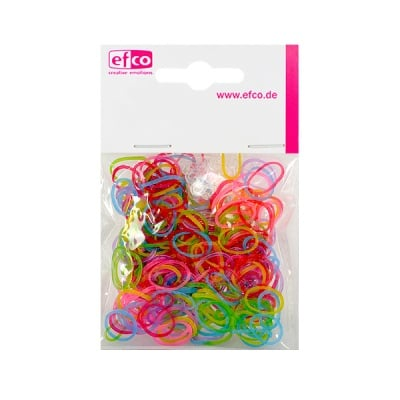 Ластички за плетене на гривни Rubber Loops, 300 бр., разноцв.искрящи