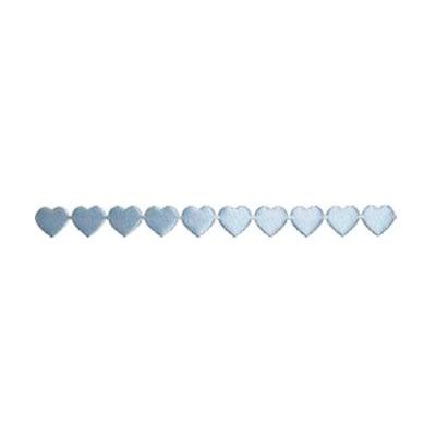 Лента с 3D мотиви, 10 mm, 2m, сърчица, светло синя