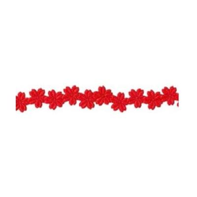 Лента с 3D мотиви, 12 mm, 2m, цветчета, червена