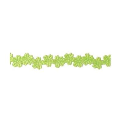 Лента с 3D мотиви, 12 mm, 2m, цветчета, зелена