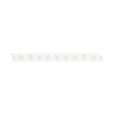 Лента с мотив, 10 mm, 5m, бяла с цветчета
