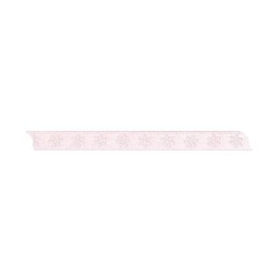Лента с мотив, 10 mm, 5m, розова с цветчета