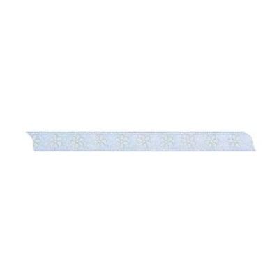Лента с мотив, 10 mm, 5m, светло синя с цветчета