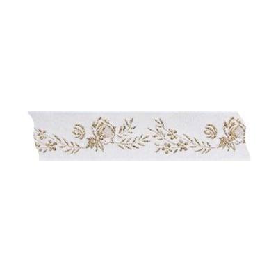 Лента с мотиви, 25 mm, 25m, бяла със златни рози