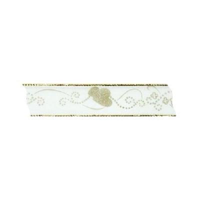 Лента с мотиви, 25 mm, 3m, бяла със златисти сватбени сърчица