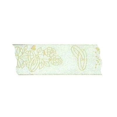 Лента с мотиви, 40 mm, 20m, бяла със златисти сватбени сърчица