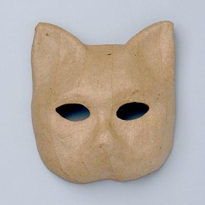 Маска от папие маше, котка, 11,5 x 10,5 x 4,5 cm