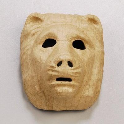 Маска от папие маше, мечка, 19 x 14 cm