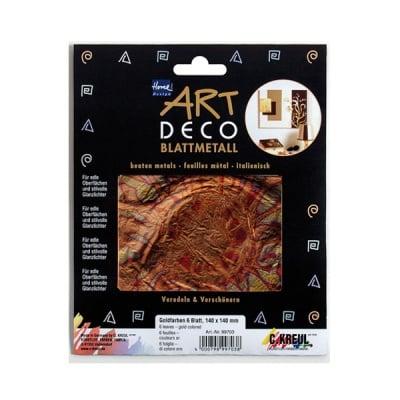 Метални листи ART Deco, 140 х 140 mm, 6л, червено/злато