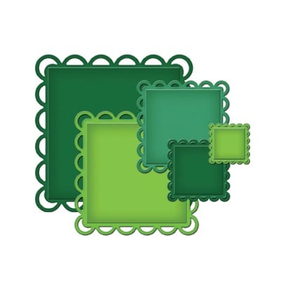"""Метални шаблони за изрязване на хартия """"Half Moon Squares"""", ~ 2,9 - 10,6 cm,"""
