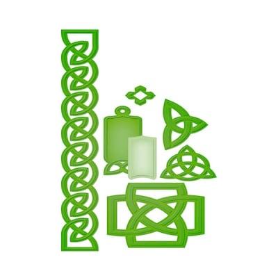 """Метални шаблони за изрязване на хартия, """"Келтски акценти"""", ~1,9х 2,3 – 21,7 х 3см."""