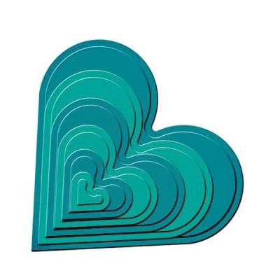 """Метални шаблони за изрязване на хартия """"Nestabilities"""", форма на сърце, ~ 2,3 x 2 - 11 x 10,5 cm"""