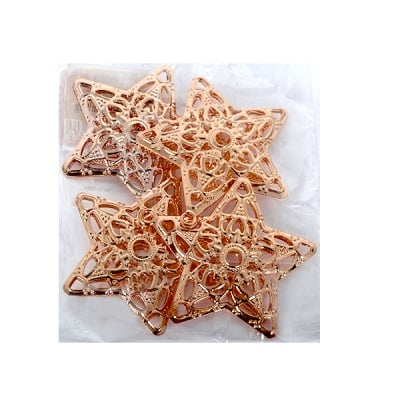 Метални звезди, 6 cm, 4 бр., светло кафеви