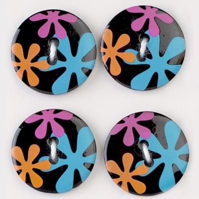 Мини конфети,цветя, 21 mm, 6бр., черни микс