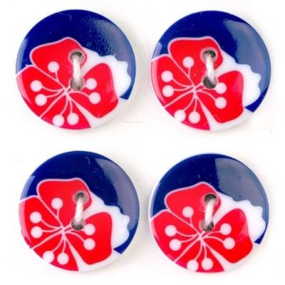 Мини конфети,цветя, 21 mm, 6бр., синьо/червено/бяло