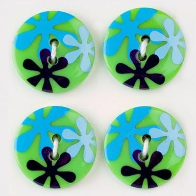 Мини конфети,цветя, 21 mm, 6бр., зелени микс