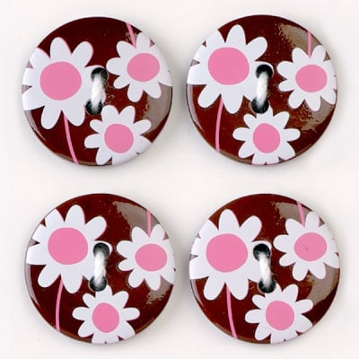 Мини конфети,маргаритки, 21 mm, 6бр., кафяво/бяло