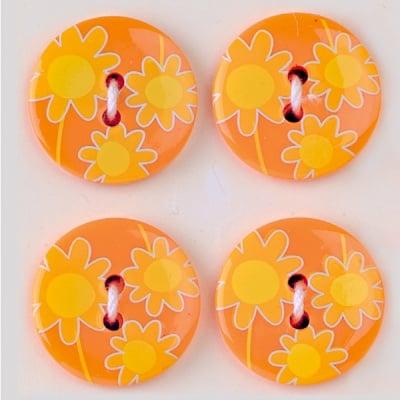 Мини конфети,маргаритки, 21 mm, 6бр., оранжево/кафяво