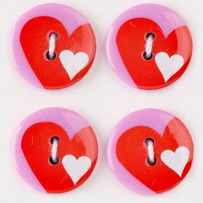 Мини конфети,сърце, 21 mm, 6бр.розов/червено/бяло