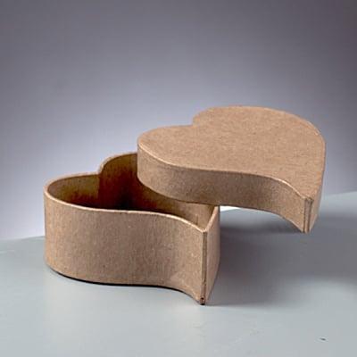 Мини кутия от папие маше сърце, 9 x 7,5 x 4 cm