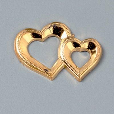 Миниатюра, две сърца, 25 mm, 5 бр., злато