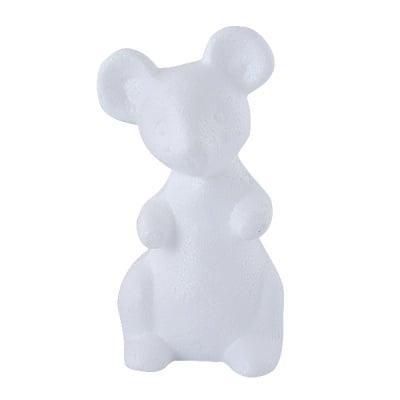 Мишка от стиропор, бял, H 130 mm