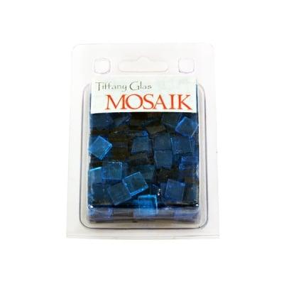 Мозаечни плочки TIFFANY Glass, стъкло, 10x10x4mm, 280 бр., синьо капри