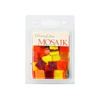 Мозаечни плочки TIFFANY Glass, стъкло, 15x15x4mm, 130 бр., жълто-червен микс