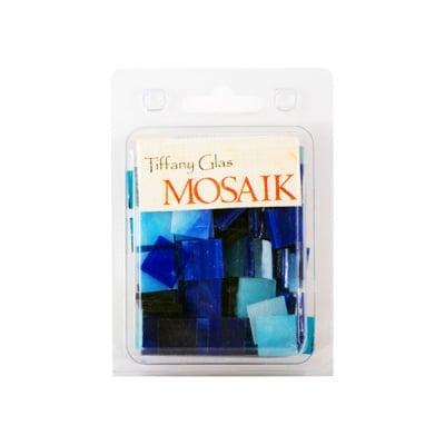 Мозаечни плочки TIFFANY Glass, стъкло, 15x15x4mm, 130 бр., син микс