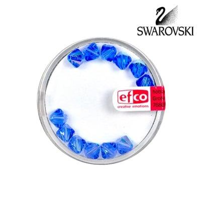 Перла многостенна Swarovski, 6 mm, 12 бр., сапфир - АВ