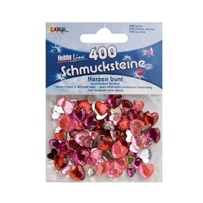 Перли за декорация, сърце, смесени, 400 бр.