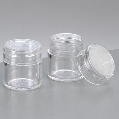 Пластмасова кутия, кръгла, с капачка на винт, ф 2.5 cm х 2.8 cm, прозрачна