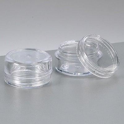 Пластмасова кутия, кръгла, с капачка на винт, ф 3.0 cm х 1.7 cm, прозрачна