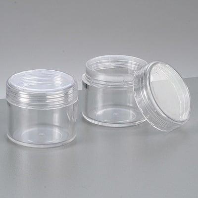 Пластмасова кутия, кръгла, с капачка на винт, ф 3,9 cm x 3,3 cm, прозрачна