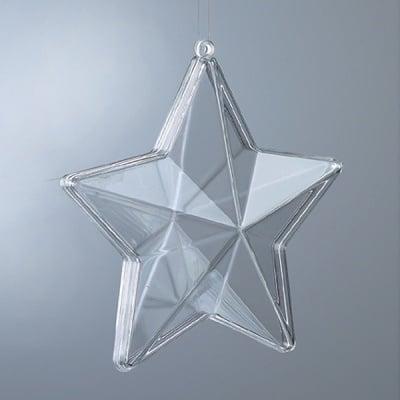 Пластмасова звезда, прозрачна, 80 mm