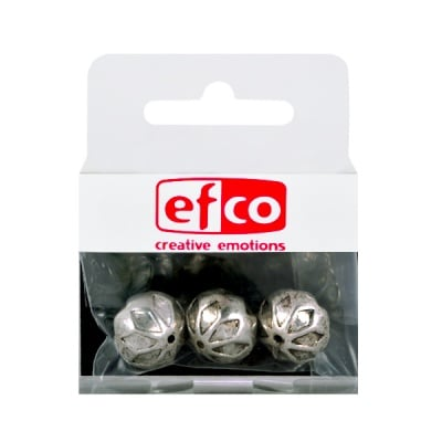 Пластмасови перли, 14 x 12 mm, 3 бр., старо сребро