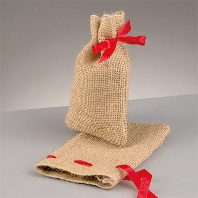 Подаръчна торбичка от юта с панделка, 10 x 14 cm