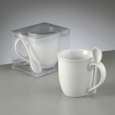 Порцеланова чаша с лъжичка, ф 8,8/5,7 x H 9,6 cm,