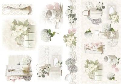 Декупажна тишу хартия, WHITE FLOWERS, 35 x 50 cm
