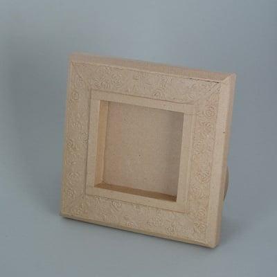 Рамка от папие маше с орнаменти, квадрат, 20 x 20 x 2,5 cm / 10 x 10 x 2 cm