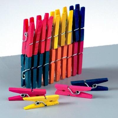 Разноцветни дървени щипки за дрехи, 25 mm, 25 броя