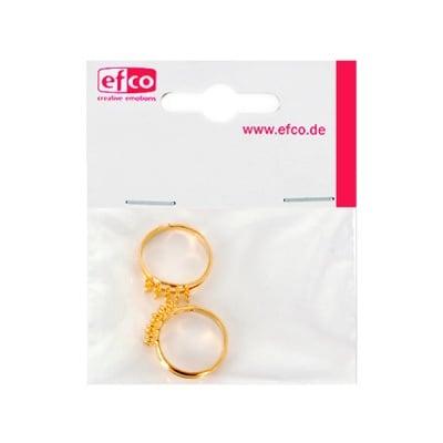Регулируем пръстен с 10 халки, ф 16 - 18 mm, 2 броя, позлатен