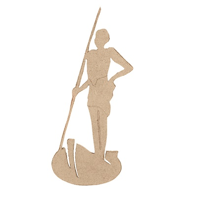 Декоративна фигура RicoDesign, АФРИКАНЕЦ С КОПИЕ, MDF, 15/6/0.5 cm