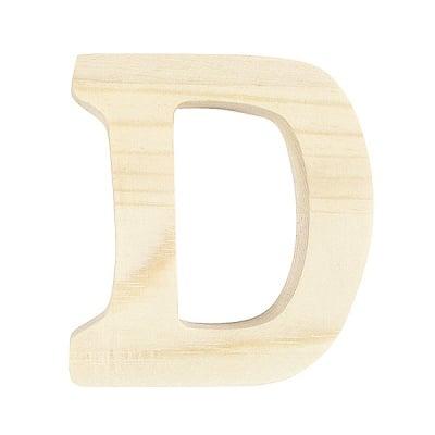 """Буква декоративна RicoDesign, """"D"""", натурално дърво, 8 cm"""