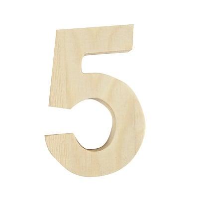"Цифра декоративна RicoDesign, ""5"", натурално дърво, 8 cm"