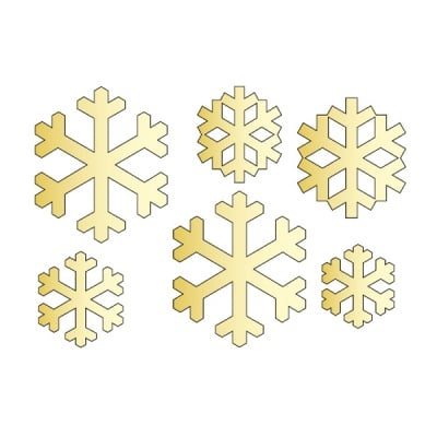 Декоративна фигура RicoDesign, СНЕЖИНКИ 6ч., GOLD, 11.5/7.5 cm