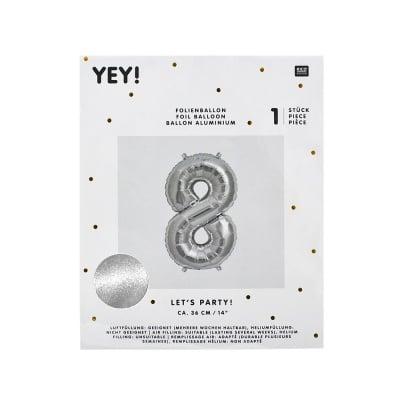 Фолиев балон, цифра 8, 36 cm, сребро