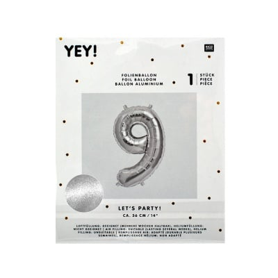 Фолиев балон, цифра 9, 36 cm, сребро