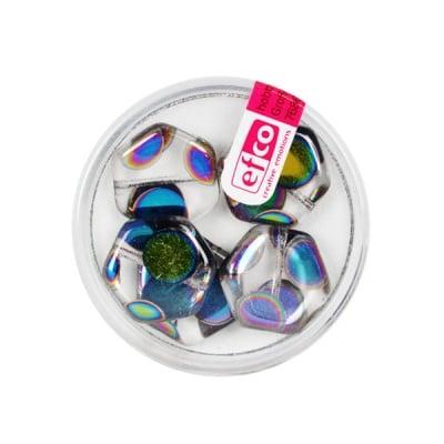 Рисувани перли, плосък шестоъгълник, 17 mm, 5 бр., прозрачни точки