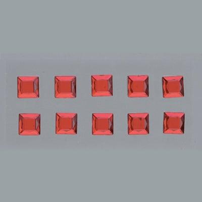 Самозалепващи се кристали, Quadrat, квадрат, 4, 5, 6, 8 mm, 48 бр., червени